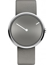 Jacob Jensen 252 Curve Grey Leather Strap Watch