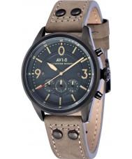 AVI-8 AV-4024-07 Mens Lancaster Bomber Grey Leather Strap Chronograph Watch