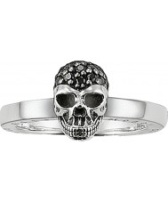 Thomas Sabo TR1877-051-11-56 Ladies Black Zirconia Pave Skull Silver Ring - Size P.5 (EU 56)