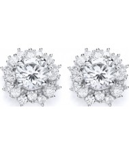 Purity 925 P1476ES-1 Ladies Cluster Sterling Silver Stud Earrings With CZ