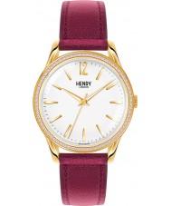 Henry London HL39-SS-0068 Ladies Holborn White Burgundy Watch with Swarovski Elements