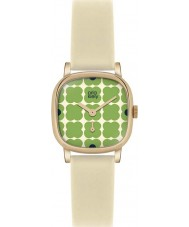 Orla Kiely OK2052 Ladies Cecelia Green Flowery Cream Leather Strap Watch