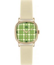 Orla Kiely OK2052 Ladies Cecelia Green Flowery Cream Leather Strap Watch