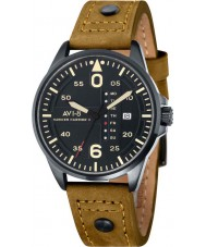 AVI-8 AV-4003-08 Mens Hawker Harrier II Brown Leather Strap Watch