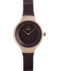 Obaku V166LXVNMN Ladies Brown Steel Mesh Bracelet Watch