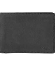 Fossil ML3446001 Mens Nova Black Leather L-Zip Bifold Wallet