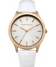 Karen Millen KM106WRGA Ladies White Crock Pattern Leather Strap Watch