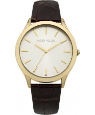 Karen Millen KM106TGA Ladies Dark Brown Crock Pattern Leather Strap Watch