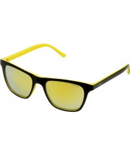 Police Mens Hot 1 S1936-B29G Black Yellow Multilayer Gold Sunglasses