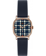Orla Kiely OK2054 Ladies Cecelia Flowery Navy Leather Strap Watch