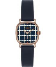 Orla Kiely OK2054 Ladies Cecelia Flowery Navy Leather Strap Watch