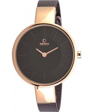 Obaku V149LXVNMN Ladies Rose Gold Plated Brown Mesh Bracelet Watch