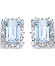 Purity 925 P1478ES-2 Ladies Sky Blue Topaz Sterling Silver Stud Earrings