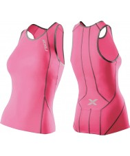 2XU Ladies Performance Synthetic Pink Tri Singlet