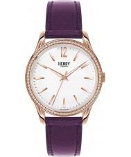 Henry London HL39-SS-0086 Ladies Hampstead White Purple Watch with Swarovski Elements