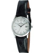Dreyfuss and Co DGS00004-06 Mens 1890 Silver Black Leather Strap Watch