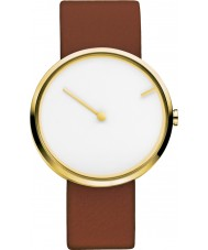 Jacob Jensen 254 Curve Brown Leather Strap Watch