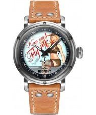 Dogfight DF0040 Mens Pin-Up Light Brown Leather Strap Watch