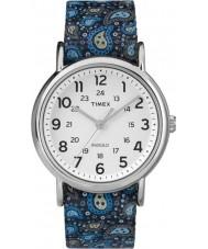 Timex Originals TW2P81100 Ladies Weekender Slip Thru Blue Paisley Reversible Strap Watch