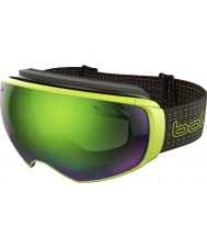 Bolle 21160 Virtuose Black and Lime - Green Emerald Ski Goggles with Spare Lemon Gun Lens