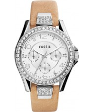 Fossil ES3889 Ladies Riley Sand Leather Strap Watch