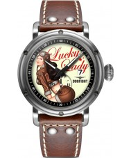 Dogfight DF0041 Mens Pin-Up Dark Brown Leather Strap Watch
