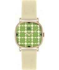 Orla Kiely OK2058 Ladies Cecelia Green Flowery Cream Leather Strap Watch