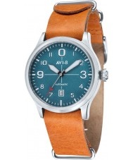AVI-8 AV-4021-06 Mens Flyboy Automatic Orange Leather Strap Watch