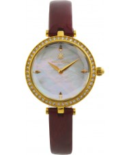 Klaus Kobec KK-10001-01 Ladies Angel Red Leather Watch with Swarovski Crystals