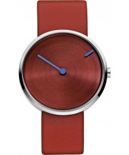 Jacob Jensen 255 Curve Red Leather Strap Watch