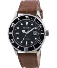Kahuna KUS-0105G Mens Brown Leather Strap Watch