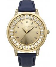Little Mistress LM020 Ladies Gold Stone Set Blue PU Leather Strap Watch