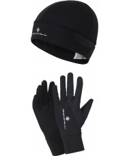 Ronhill RH-001397R004-S-M Additions Black Beanie and Gloves Set - Size S-M