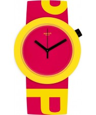 Swatch PNJ100 Poptastic Red Silicone Strap Watch with Yellow Logo
