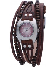 Kahuna KLS-0083L Ladies Brown Beaded Multi Thong Watch
