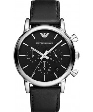 Emporio Armani AR1733 Mens Classic Chronograph Black Leather Strap Watch