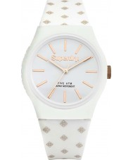 Superdry SYG166WRG Ladies Urban Micro White Gold Printed SD Graphic Watch