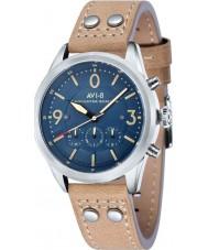 AVI-8 AV-4024-05 Mens Lancaster Bomber Light Camel Leather Strap Chronograph Watch