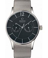 Obaku V175GMCBMC Mens Multifunction Silver Tone Mesh Bracelet Watch