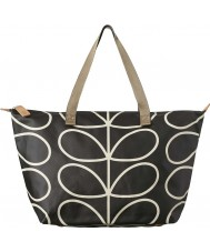 Orla Kiely 0ETCLIN131 Ladies Giant Linear Stem Liquorice Zip Shopper Bag