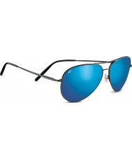 Serengeti Medium Aviator Shiny Dark Gunmetal Polarized 555nm Blue Mirror Sunglasses