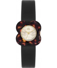 Orla Kiely OK2064 Ladies Poppy Tortoiseshell Flower Case Black Leather Strap Watch