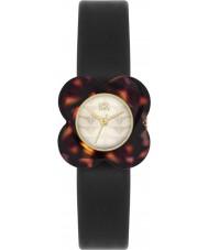 Orla Kiely OK2064 Ladies Poppy Tortoiseshell Flower Case Black Leather Strap Watch