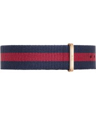 Daniel Wellington DW00200001 Mens Classic 40mm Oxford Rose Gold Blue and Red Nylon Spare Strap