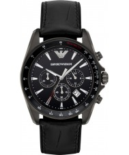 Emporio Armani AR6097 Mens Sports Black Leather Strap Watch