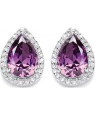 Purity 925 P3057ES-1 Ladies Purple Amethyst Sterling Silver Stud Earrings With CZ