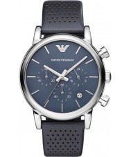 Emporio Armani AR1736 Mens Classic Chronograph Blue Leather Strap Watch