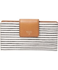 Fossil SL6861080 Ladies Sydney Black Stripe PVC Tab Clutch