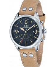 AVI-8 AV-4024-02 Mens Lancaster Bomber Beige Leather Strap Chronograph Watch