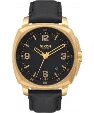 Nixon A1077-513 Mens Charger Black Leather Strap Watch